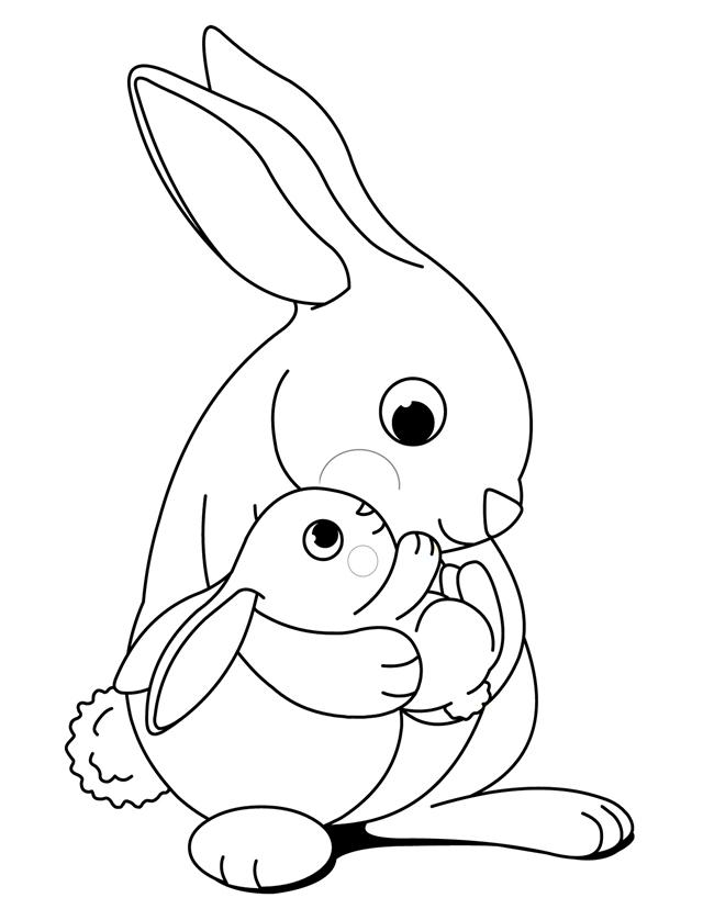 hugging bunnies free printable coloring pages