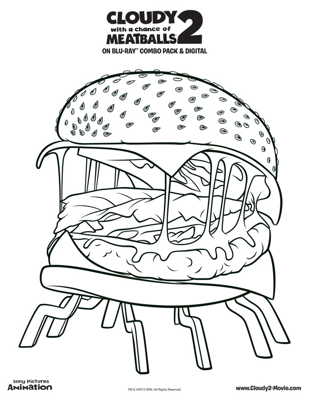 Burger Free Printable Coloring Pages