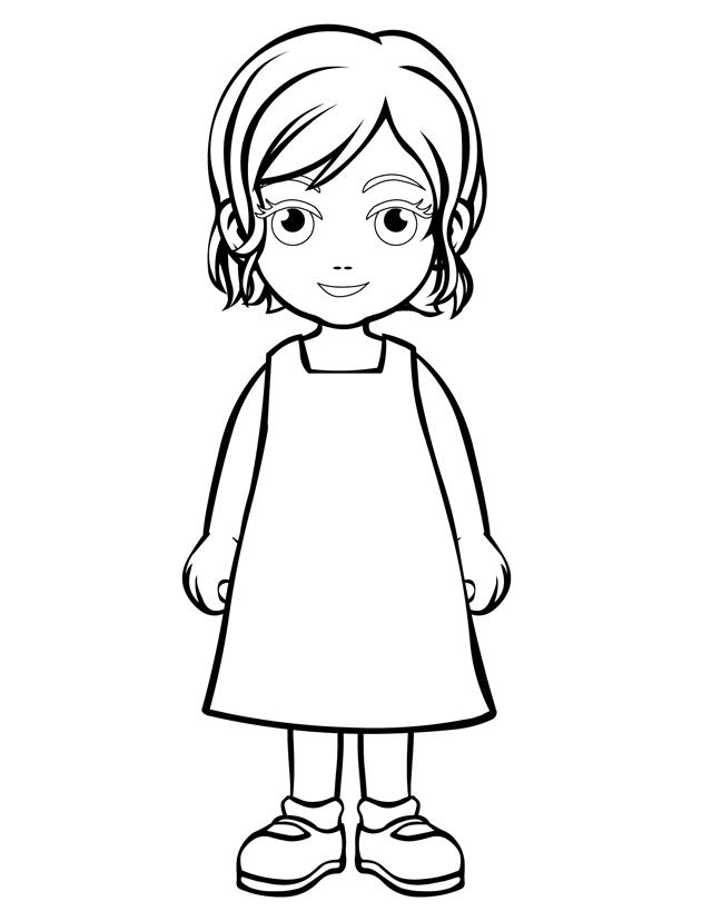 Little girl outline template images for Little girls coloring pages