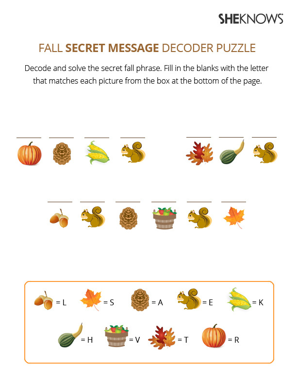 Fall Secret Decoder Puzzle Free Printable Coloring Pages