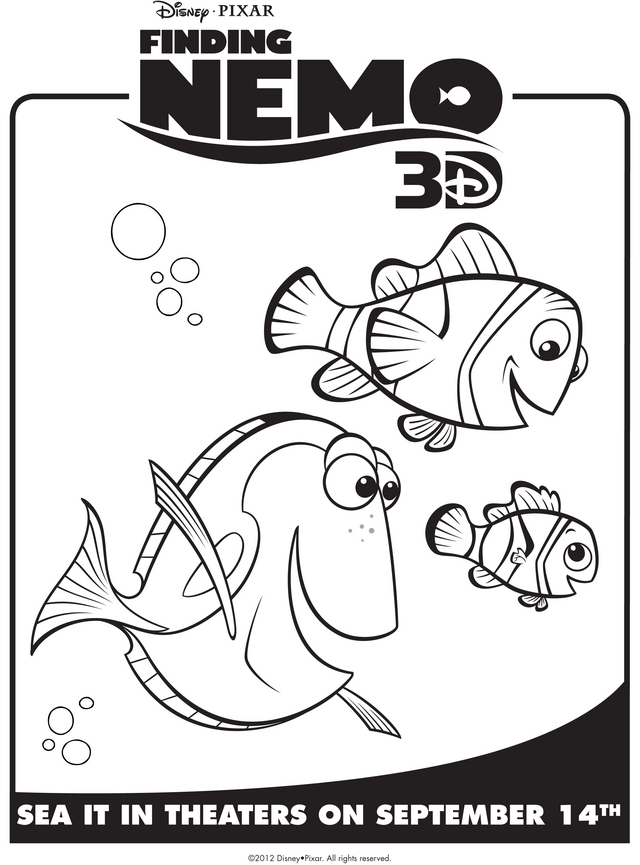 Nemo, Marlin, & Dory - Free Printable Coloring Pages