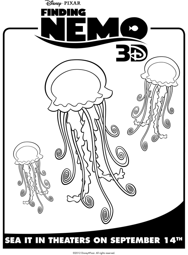 Finding Nemo S Jellyfish Free Printable Coloring Pages