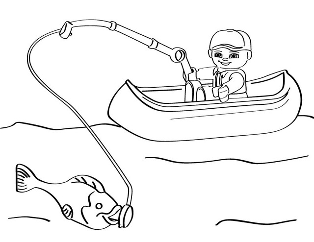 Lego fishing Free Printable Coloring Pages