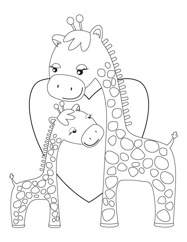 Giraffes hugging free printable coloring pages