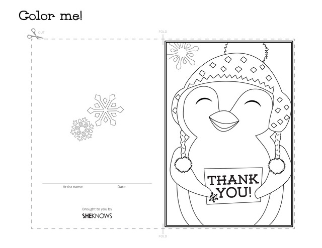 Penguin holiday thank you card - Free Printable Coloring Pages