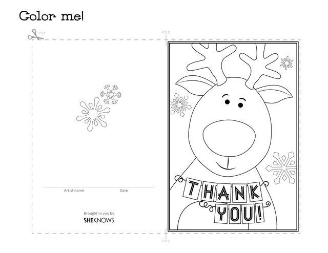 Reindeer holiday thank you card - Free Printable Coloring Pages