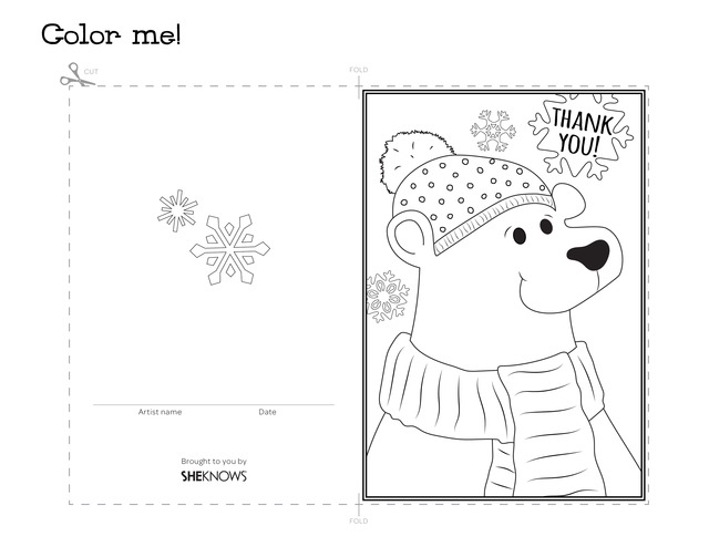 polar bear holiday thank you card free printable coloring pages