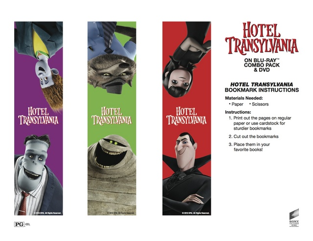 Hotel Transylvania Bookmarks Free Printable Coloring Pages