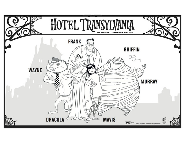Hotel Transylvania Group Free Printable Coloring Pages