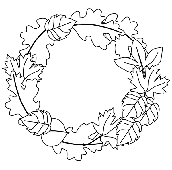 fall leaves clip art coloring pages - fall wreath coloring page free printable coloring pages