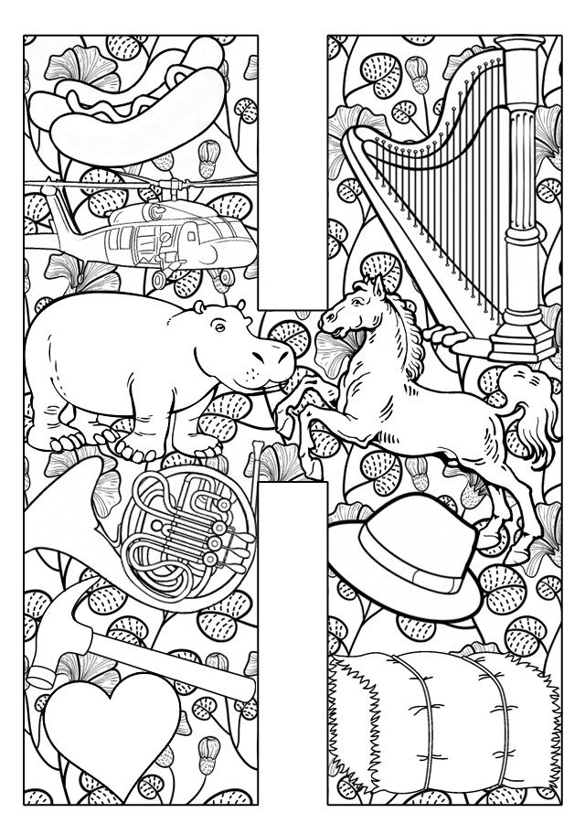 Coloring Pages For The Letter H.  Things that start with H Free Printable Coloring Pages