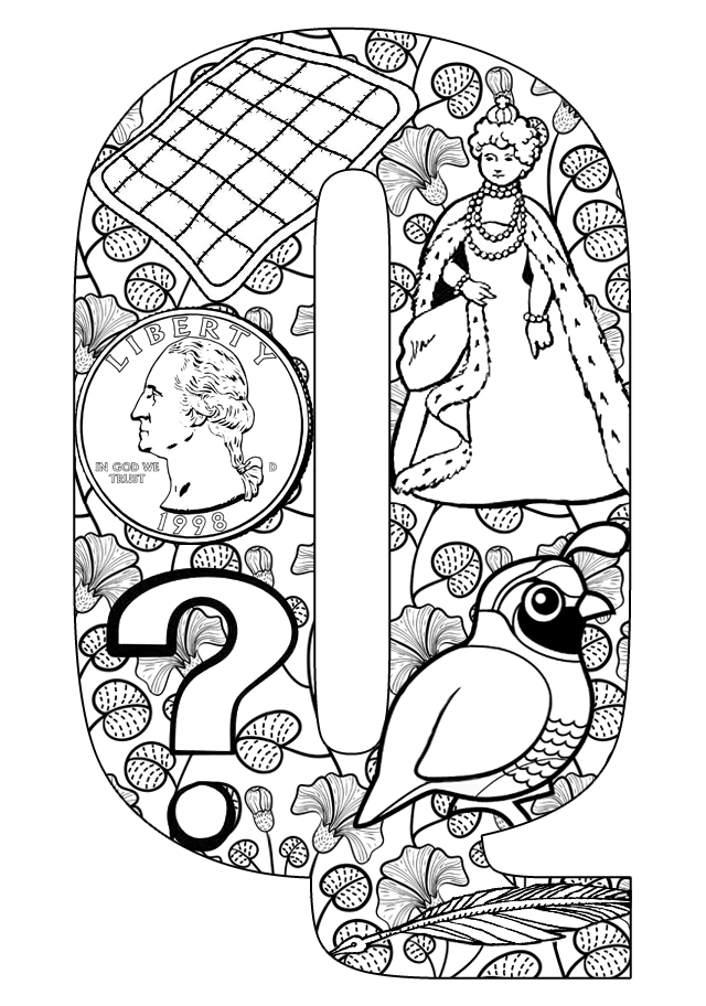 Things That Start With Q Free Printable Coloring Pages Letter Q Coloring Page