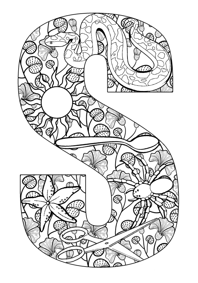 alphabet letters things that start with s - S Coloring Pictures