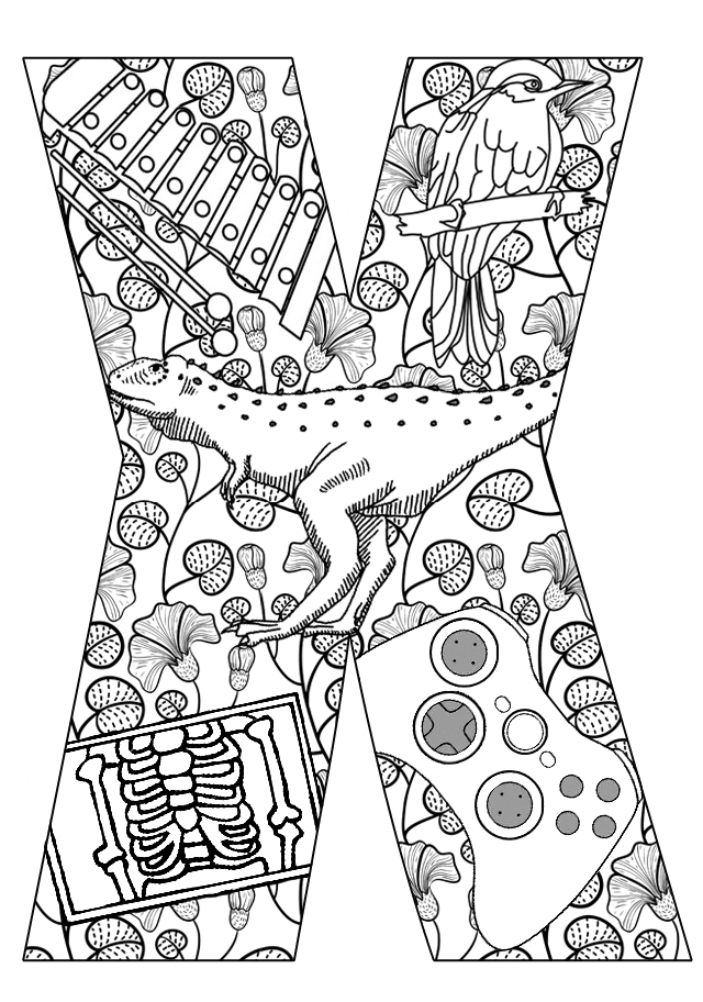 coloring pages for the letter x   Things that start with X - Free Printable Coloring Pages