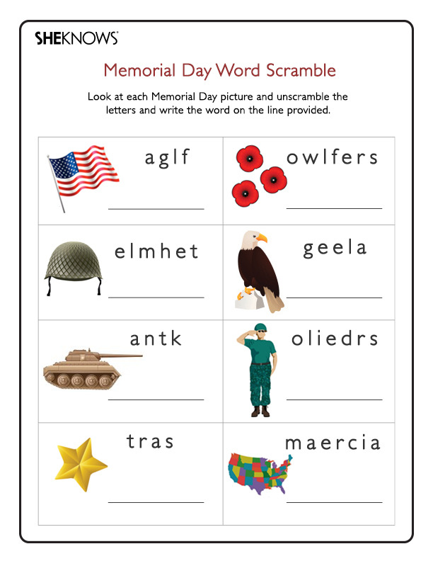 Memorial Day Word Scramble Printable Coloring Pages