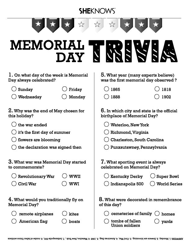 memorial day trivia free printable coloring pages