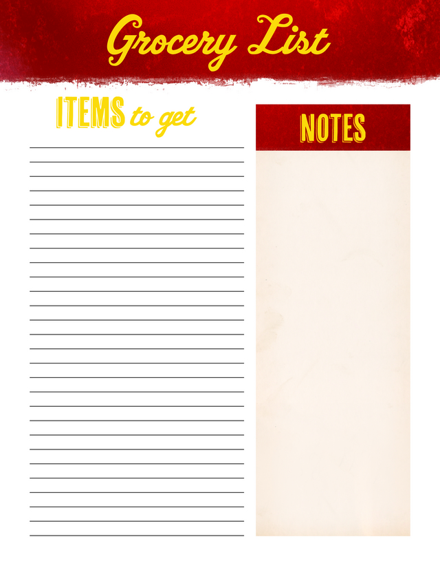 Grocery list unbranded Free Printable
