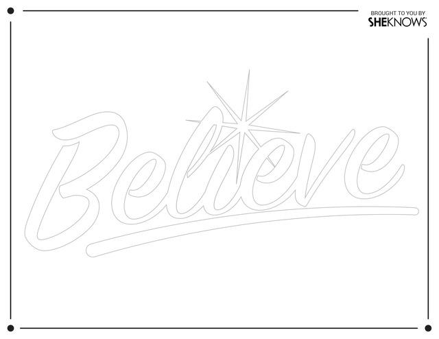 Believe wall stencil white Free