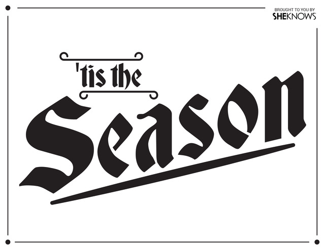 Tis The Season Wall Stencil Black Free Printable