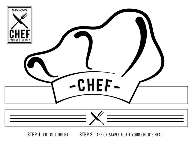 Chef hat cutout Free Printable Coloring Pages
