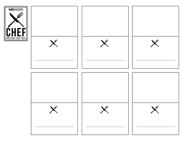 chefs food place cards free printable coloring pages - Printable Place Cards