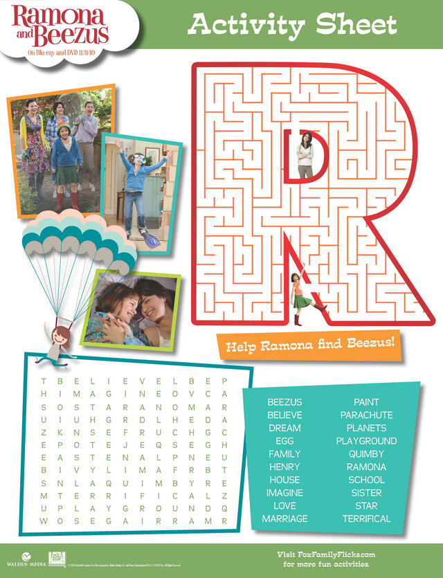 Ramona And Beezus Word Search And Maze Free Printable