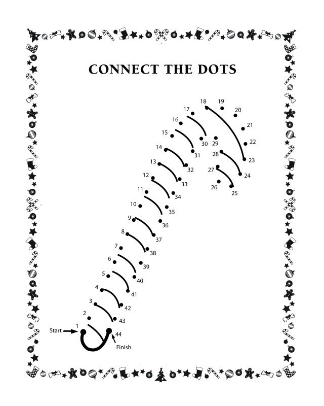 Connect the dots - Candy cane - Free Printable Coloring Pages