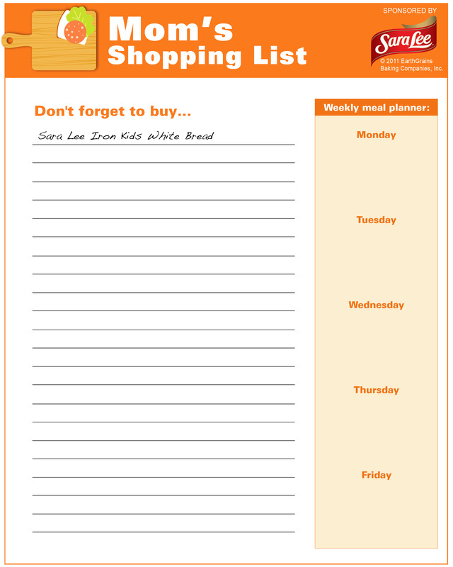 Thanksgiving Dinner Food Shopping List Template