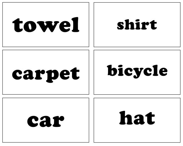 Sight words household items Free