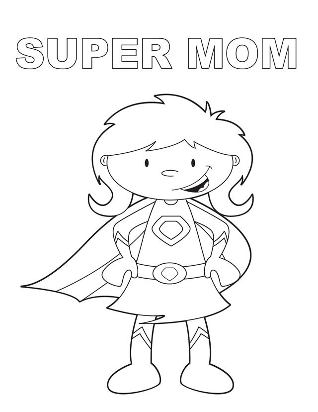 Super Mom - Free Printable Coloring Pages