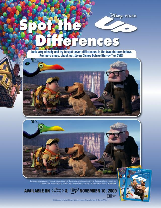 Disney S Up Spot The Difference Free Printable Coloring