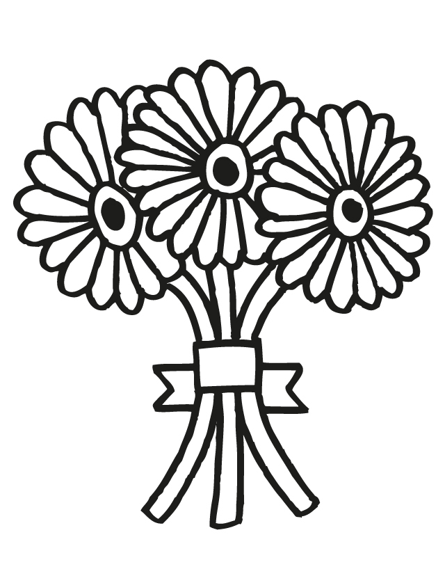 Wedding Flower Line Drawing : Wedding bouquet free printable coloring pages