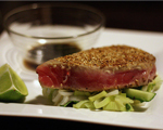 Black and Blue Sashimi Tuna Steaks with Wasabi-Soy Dipping Sauce