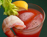 Blood Mary Cocktail with Shrimp Garnish