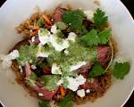 Brown Rice, Steak and Feta Bowl with Tahini Dressing