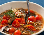 Bulgur and Lentil Soup with Mushrooms and Tomatoes