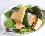 Burrito Stuffed Poblanos with Queso Ranch Dressing