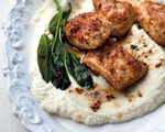 Cauliflower Puree Topped with Crisp Coconut Chicken