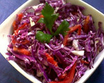 Chopped Red Cabbage Salad with Red Bell Peppers