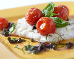 Cod with Cherry Tomatoes, Olives and Capers