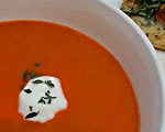 Cold and Creamy Roasted Red Pepper Soup