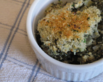 Creamed Spinach with Bacon and Parmesan Crust