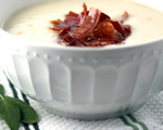 Creamy Cauliflower Soup with Prosciutto