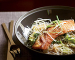 Crisp Asian Salmon with Bok Choy and Rice Noodles