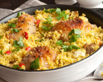 Elegant roasted white wine chicken with peach couscous