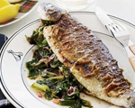 Escarole-Stuffed Seared Trout