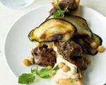 Greek Lamb Kebab, Grilled Eggplant and Hummus