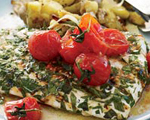 Grilled Halibut with Fingerling Potatoes and Buttery Tomatoes