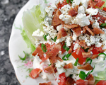 Iceberg Salad with Warm Bacon and Blue Cheese Dressing