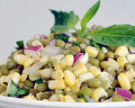 Mung Beans with Corn and Basil